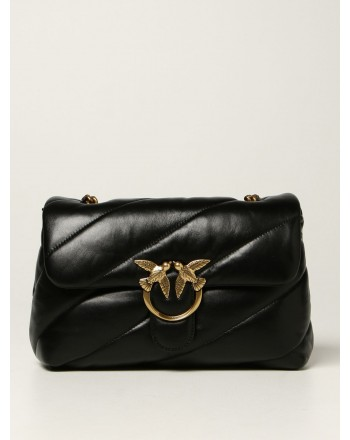 PINKO -  LOVE CLASSIC PUFF MAXI QUILT Leather Bag - Black