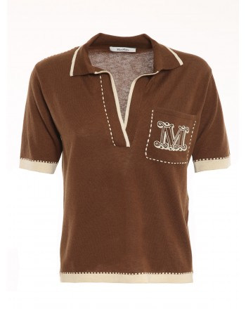 MAX MARA - RICORDO Silk and Cashmere Polo - Leather/Ecru