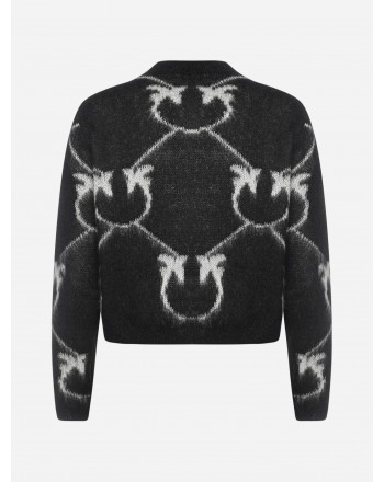 PINKO - LAVANT Mohair Blended Logo Cardigan Knit - Black/Cream