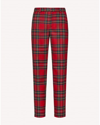 RED VALENTINO - Tartan Wool Trousers - Red