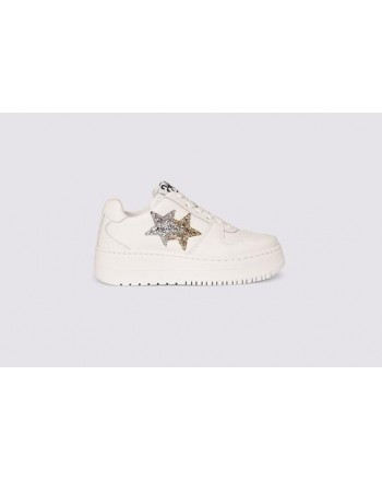 2 STAR- Sneakers QUEEN LOW 2SD3271 Pelle Bianco/Oro/Argento