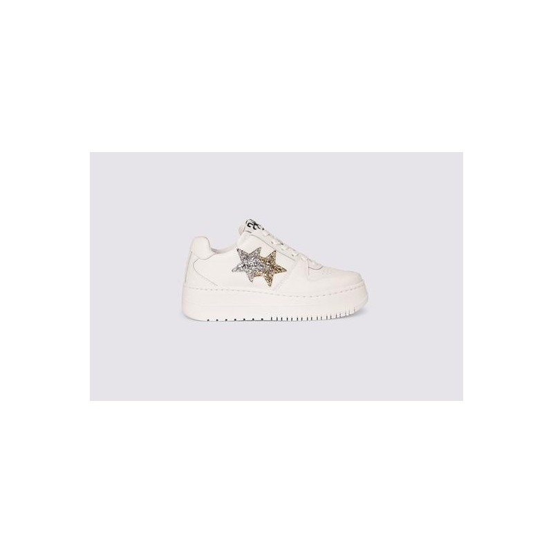 2 STAR- QUEEN LOW Sneakers 2SD3271 Leather -White/Gold/Silver
