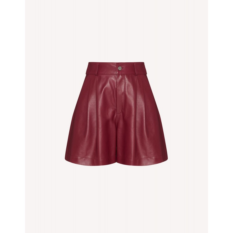 RED VALENTINO -  Leather Shorts - Cherry