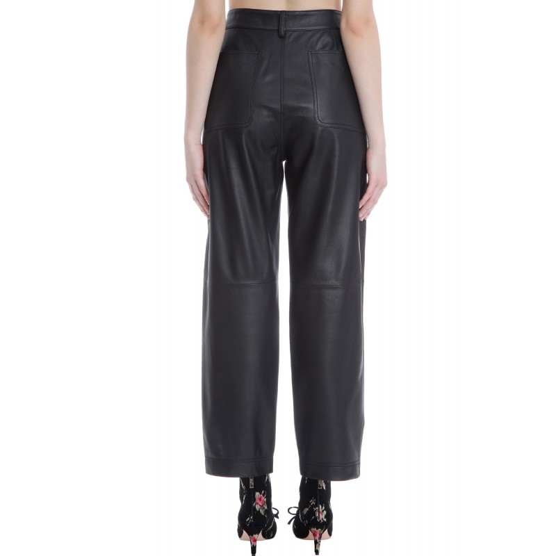 RED VALENTINO - Leather Trousers - Black
