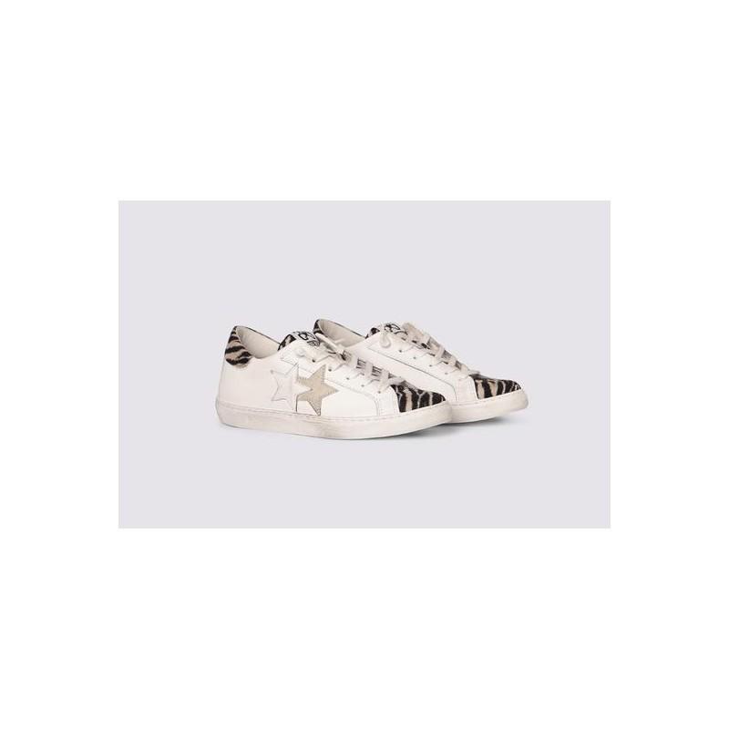 2 STAR- Sneakers 2S3219-094 Pelle - Bianco/nero zebrato