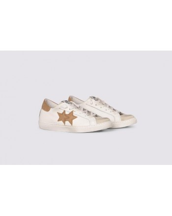 2 STAR- Sneakers 2S3222-084 Leather - White/Ice /Brown