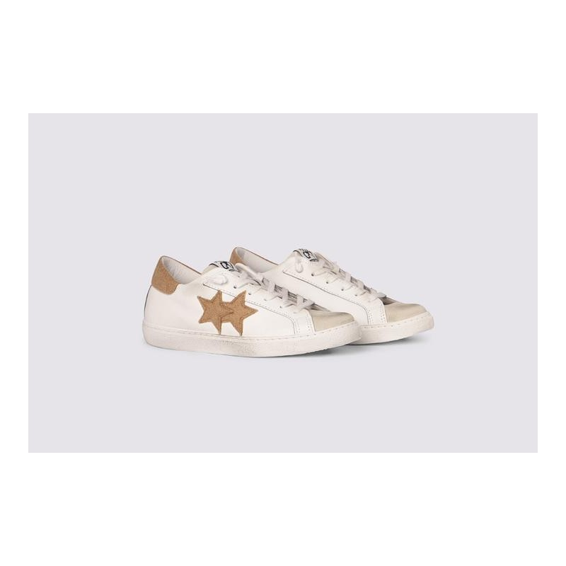 2 STAR- Sneakers 2S3222-084 Pelle - Bianco/ghiaccio /marrone