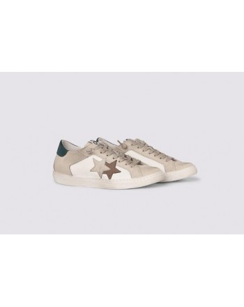 2 STAR- Sneakers 2S3240-082 Pelle - Bianco/Ghiaccio marrone ottanio