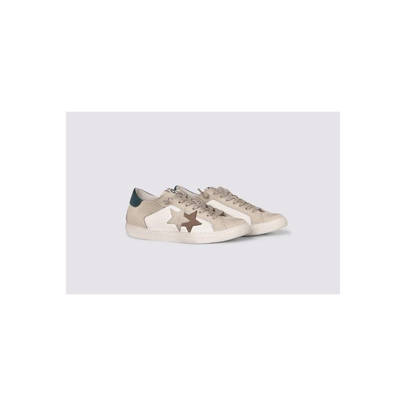 2 STAR- Sneakers 2S3240-082 Leather - White / Ice teal brown