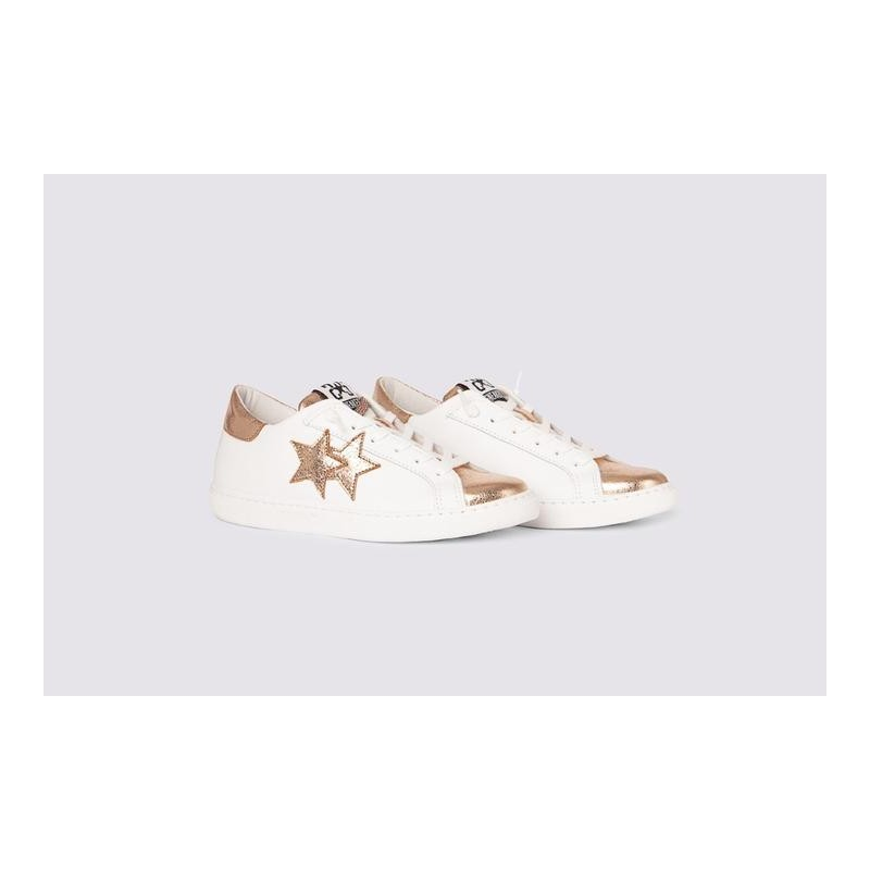 2 STAR- Sneakers 2S3216-091 Leather - White / copper