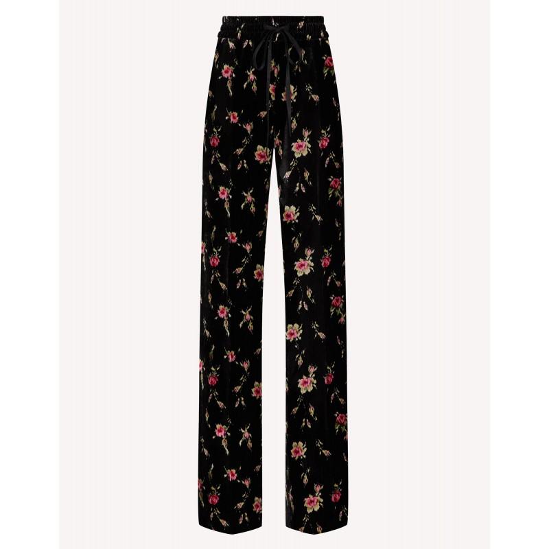 RED VALENTINO - SWEET ROSES Printed Velvet Trousers  - Black