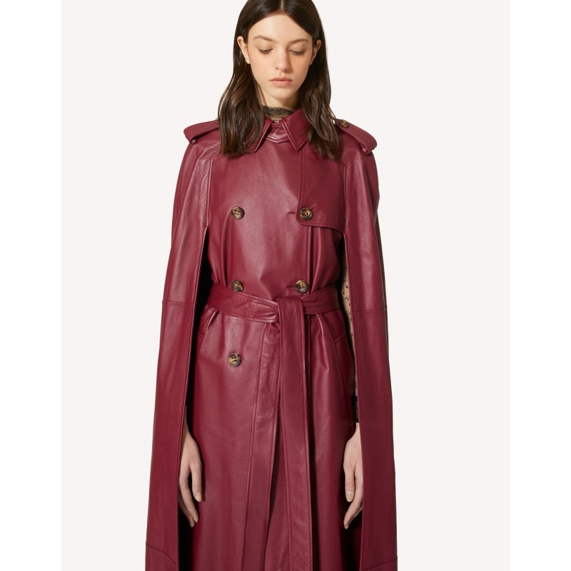RED VALENTINO - Leather Trenchcoat  Cape - Cherry
