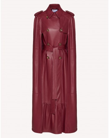 RED VALENTINO - Cappa Trench in Pelle - Amarena
