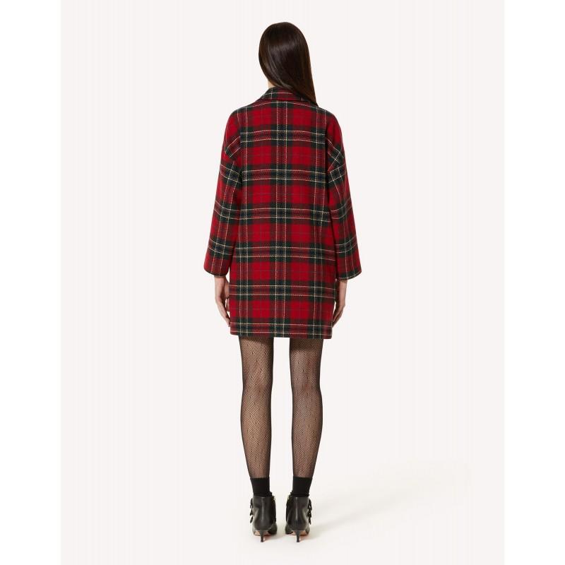 RED VALENTINO - Wool Tartan Coat - Red