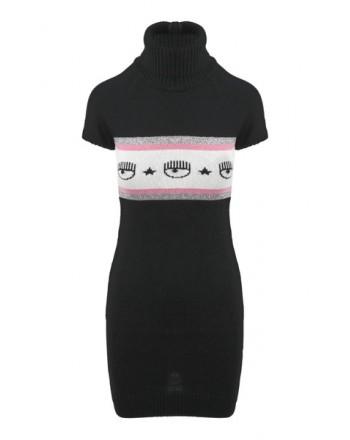 CHIARA FERRAGNI - Wool Logomania Dress Black