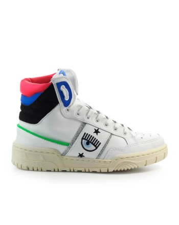 CHIARA FERRAGNI - CF1 HIGH Leather Sneakers - White/Blue/Black
