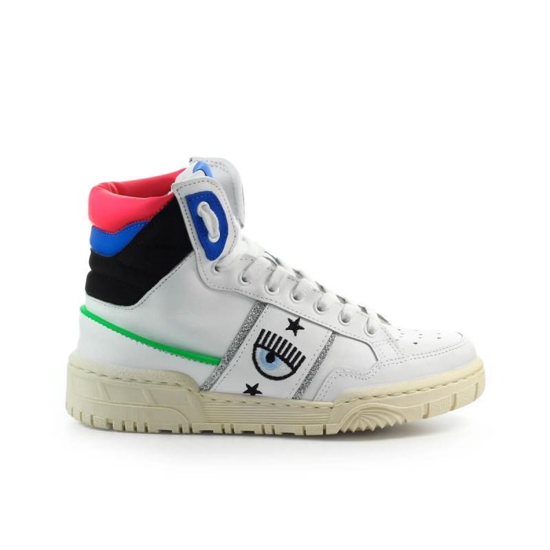 CHIARA FERRAGNI - Sneakers CF1 HIGH in Pelle - Bianco/Blu/Nero
