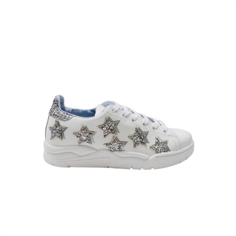 CHIARA FERRAGNI - Sneakers WHITE LEATHER SILVER STARS in  Pelle - Bianco/Silver