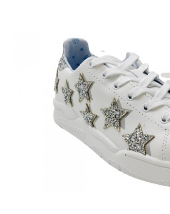 CHIARA FERRAGNI - WHITE LEATHER SILVER STARS - White/Silver