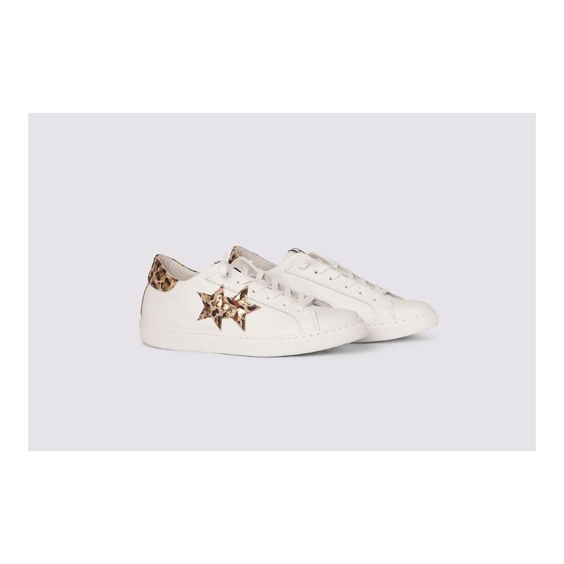 2 STAR- Sneakers 2S3210-088 Leather - White / Pink Spotted Gold