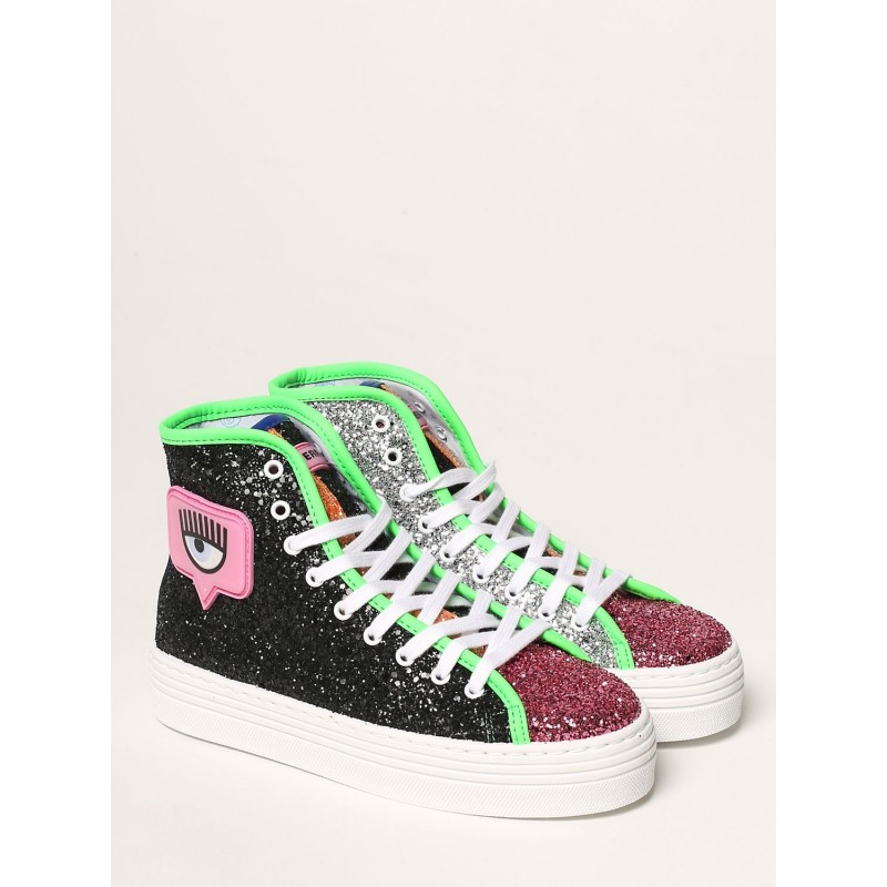 CHIARA FERRAGNI - Sneakers HIGH EYELIKE GLITTER - Multicolor/Nero