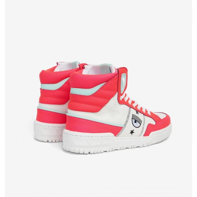 CHIARA FERRAGNI - CF1 HIGH Leather Sneakers - Pink Fluo/White