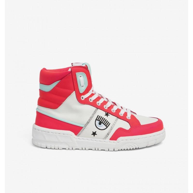 CHIARA FERRAGNI - Sneakers CF1 HIGH in Pelle - Pink Fluo/Bianco