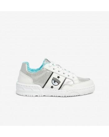 CHIARA FERRAGNI - Sneakers CF1 SILVER GLASSGLITTER in Pelle - Silver/White