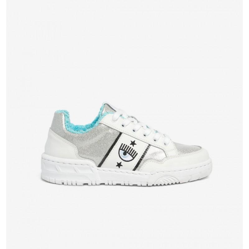 CHIARA FERRAGNI - CF1 SILVER GLASSGLITTER Leather Sneakers - Silver/White