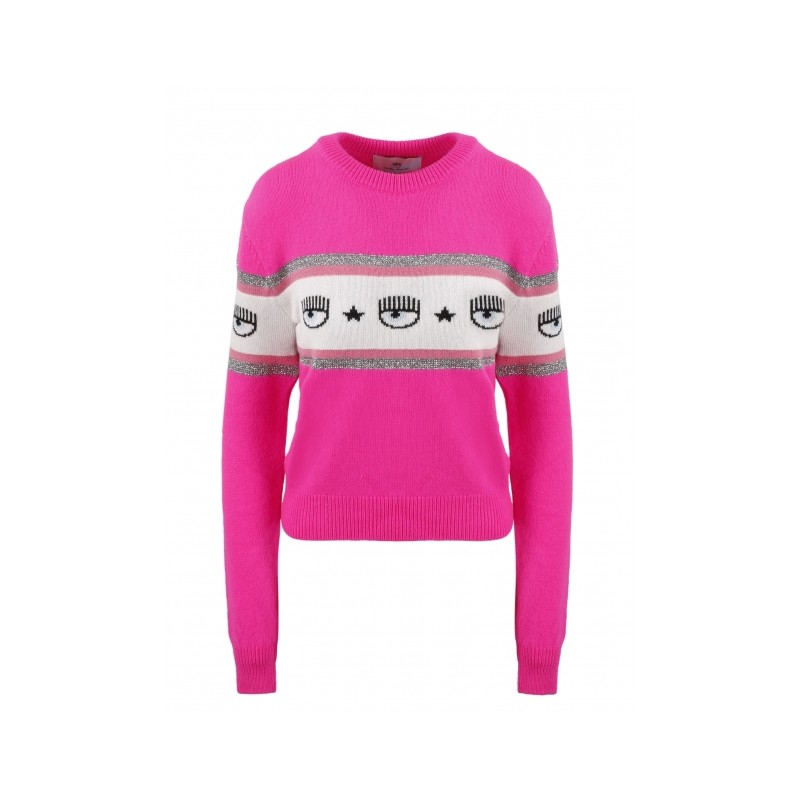 CHIARA FERRAGNI - MAXILOGO MANIA Wool Knit - Pink Fluo