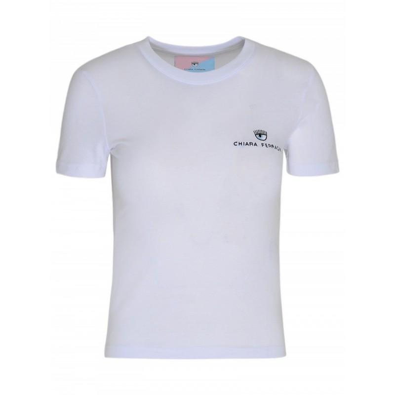 CHIARA FERRAGNI - T-Shirt Basic in Cotone - Bianco