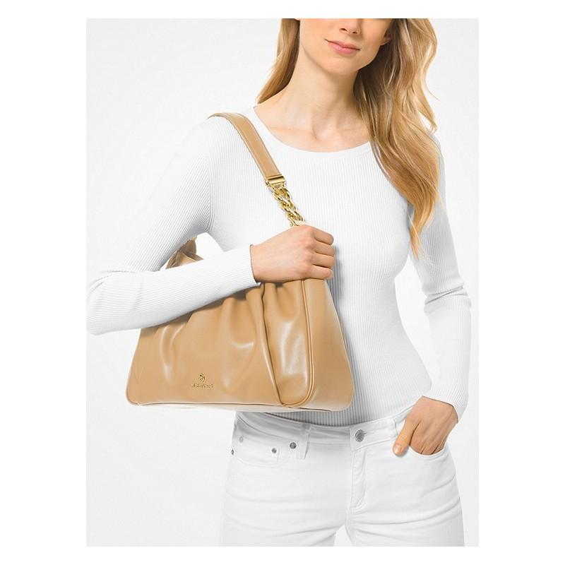 MICHAEL by MICHAEL KORS -  HANNAH MEDIUM Leather Shoulder Bag  - Luggage