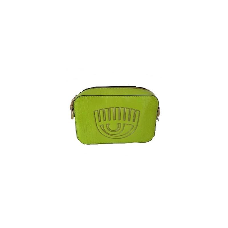CHIARA FERRAGNI - FRAME EYE Leather Bag -Neon Green