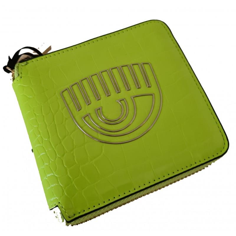 CHIARA FERRAGNI - Portafoglio FRAME EYE - Neon Green