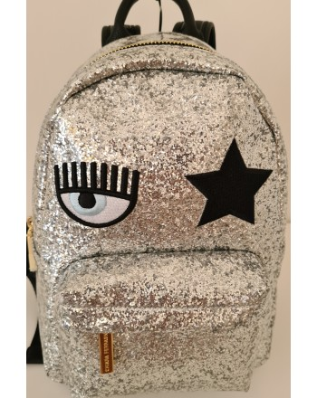 CHIARA FERRAGNI - EYE STAR GLITTER Backpack -Silver