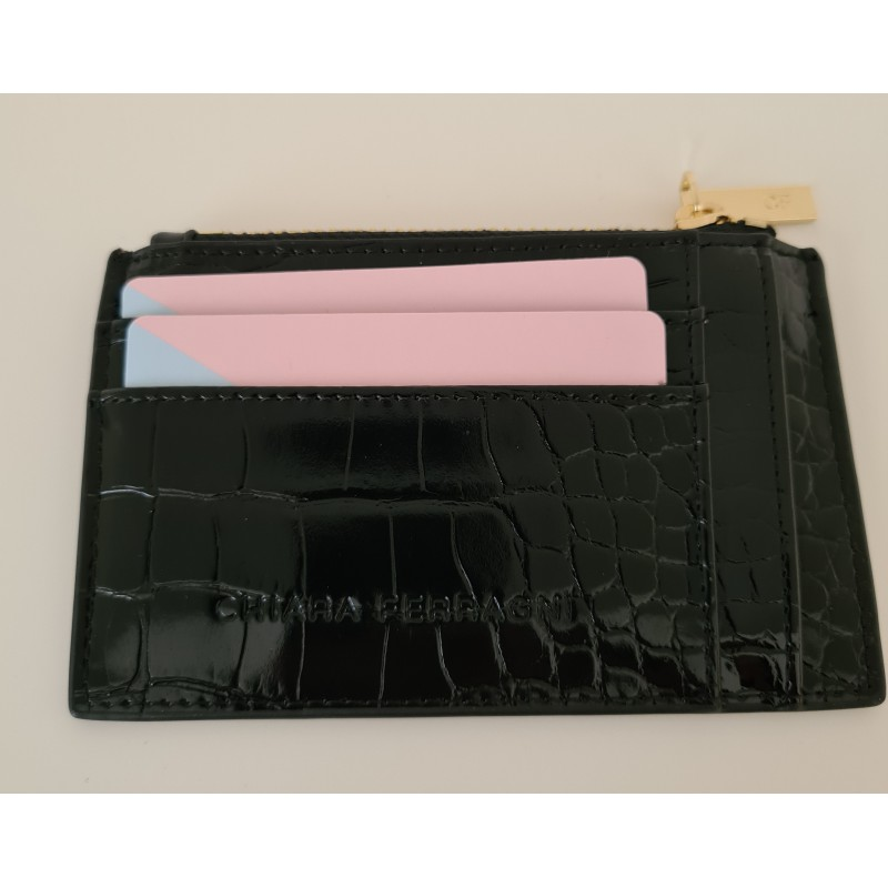 CHIARA FERRAGNI - FRAME EYE Leather Card Holder - Black