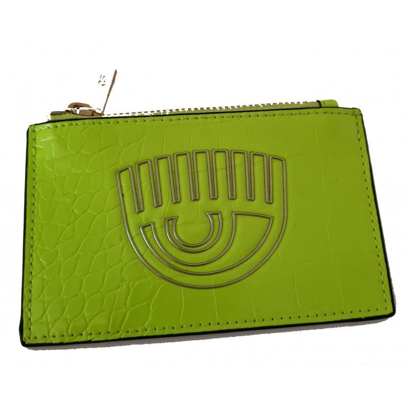 CHIARA FERRAGNI - FRAME EYE Leather Card Holder - Neon Green