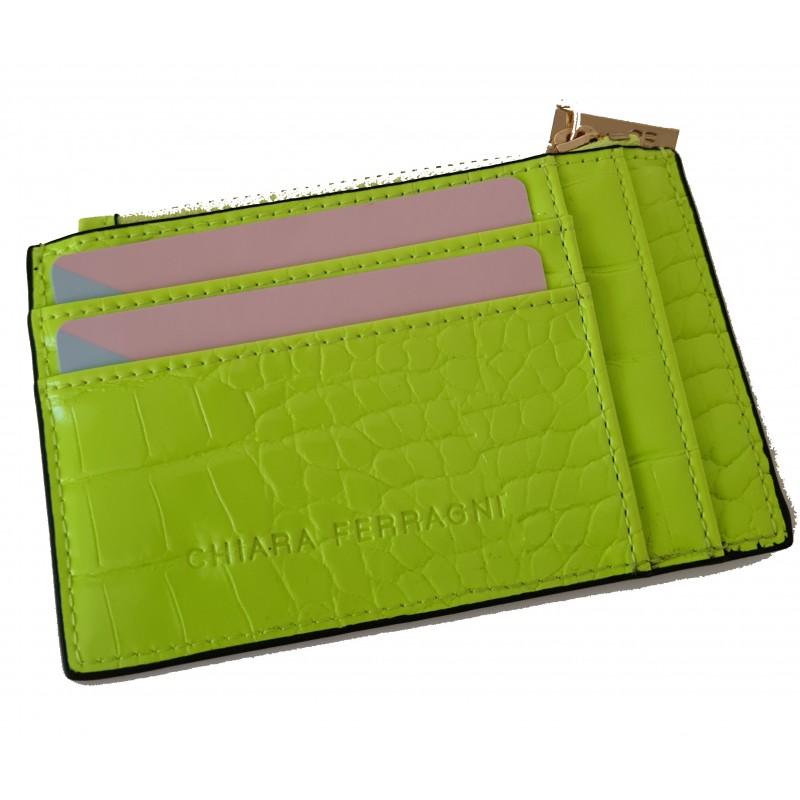 CHIARA FERRAGNI - Portacarte in Pelle FRAME EYE - Neon Green