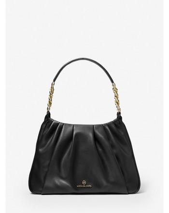 MICHAEL by MICHAEL KORS -  HANNAH MEDIUM Leather Shoulder Bag  - Black