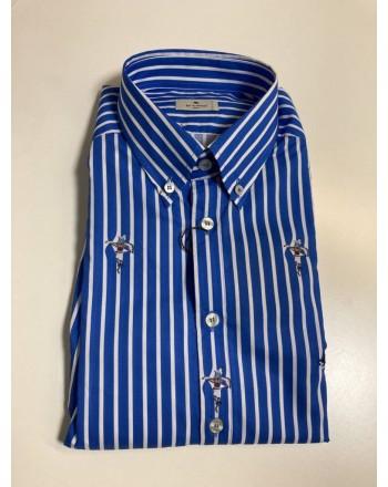 Etro u. -  Striped shirt with logo - Light Blue / White