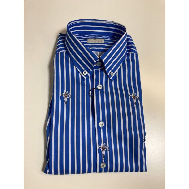 Etro u. -  Camicia righe con logo - Azzurro/Bianco