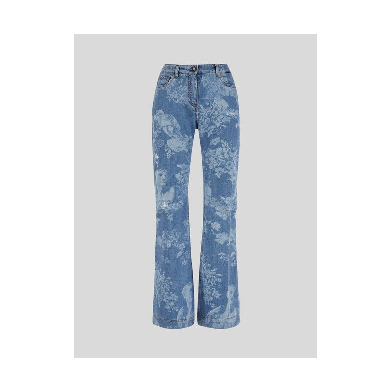 ETRO - Flower Printed Flaired Jeans - Denim