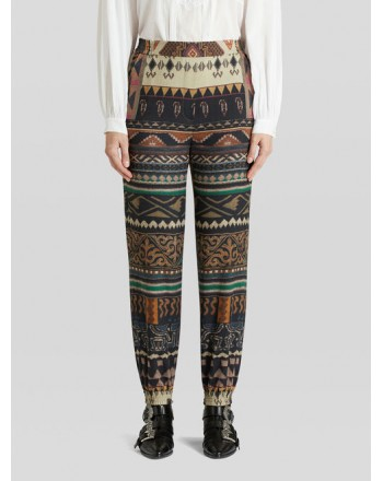 ETRO - Wool and Silk Jogger Trousers -Multicolor
