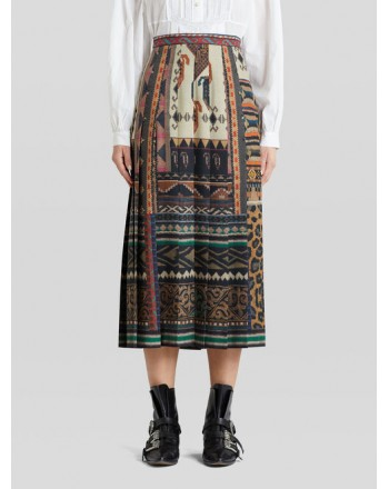ETRO - Pleated Skirt with Print - Multicolor