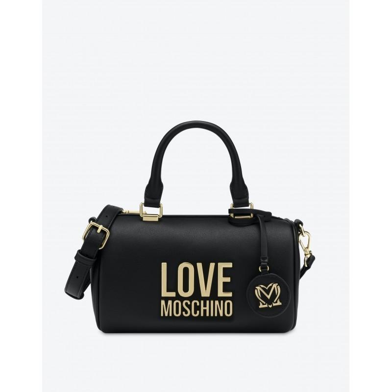 LOVE MOSCHINO - Borsa Bauletto GOLD METAL LOGO - Nero