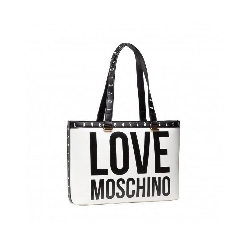 LOVE MOSCHINO - Borsa Shopping Mega Logo - Bianco