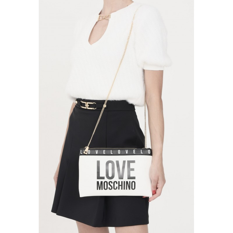 LOVE MOSCHINO - Clutch bag with contrasting logo JC4185PP1D - White