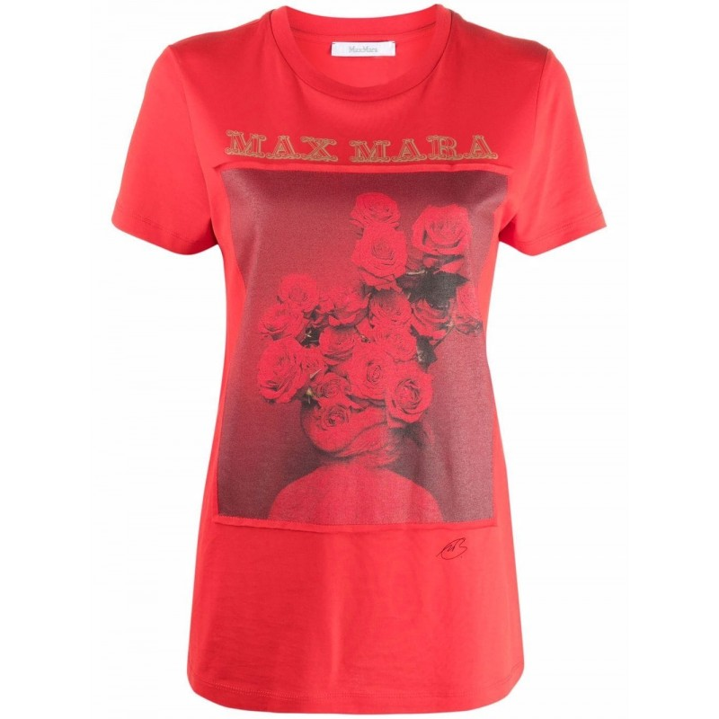 MAX MARA - ROSSO Cotton T-Shirt - Red