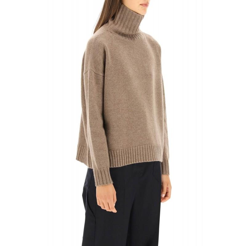 MAX MARA - TRAU Wool and Cashmere Turtleneck Knit- Light Grey