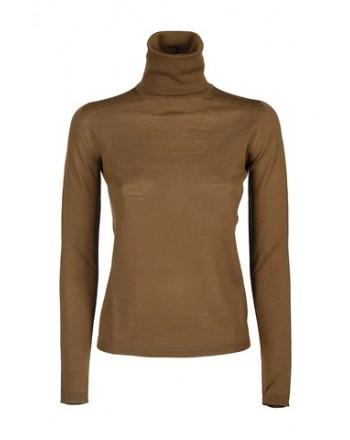 MAX MARA - SALUTO  Wool Turtleneck Knit - Leather